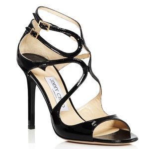 Jimmy Choo Lang Black Patent Leather Heels 38